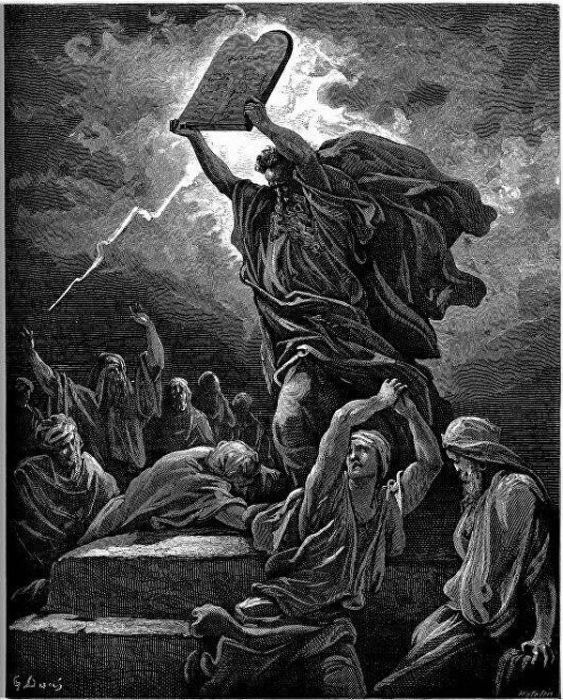 Картина Густава Доре Моисей со Скрижалями